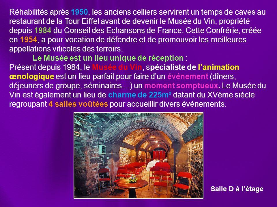 Réhabilités après 1950, les anciens celliers servirent un temps de caves au restaurant de la Tour Eiffel avant de devenir le Musée du Vin, propriété depuis 1984 du Conseil des Echansons de France.