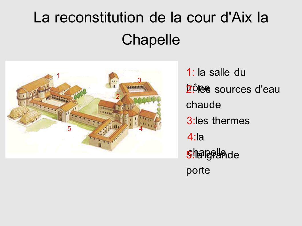La reconstitution de la cour d'Aix la Chapelle 1 2 3 45 1: la salle du trône 2: les sources d'eau chaude 3:les thermes 4:la chapelle 5:la grande porte
