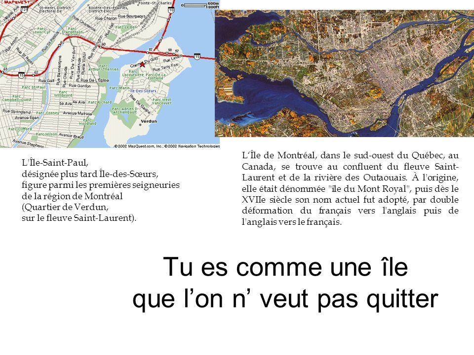 Tu es comme une île que l'on n' veut pas quitter L Île-Saint-Paul, désignée plus tard Île-des-Sœurs, figure parmi les premières seigneuries de la région de Montréal (Quartier de Verdun, sur le fleuve Saint-Laurent).