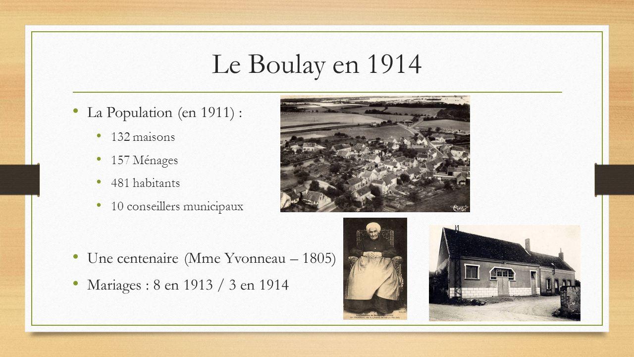 La Population (en 1911) : 132 maisons 157 Ménages 481 habitants 10 conseillers municipaux Une centenaire (Mme Yvonneau – 1805) Mariages : 8 en 1913 / 3 en 1914 Le Boulay en 1914