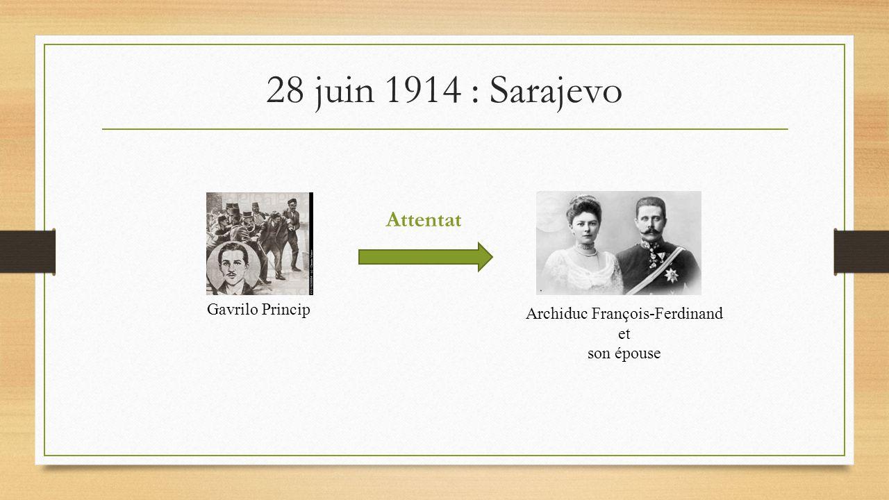 28 juin 1914 : Sarajevo Gavrilo Princip Archiduc François-Ferdinand et son épouse Attentat