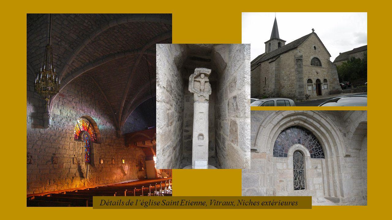 Détails de l'église Saint Etienne, Vitraux, Niches extérieures