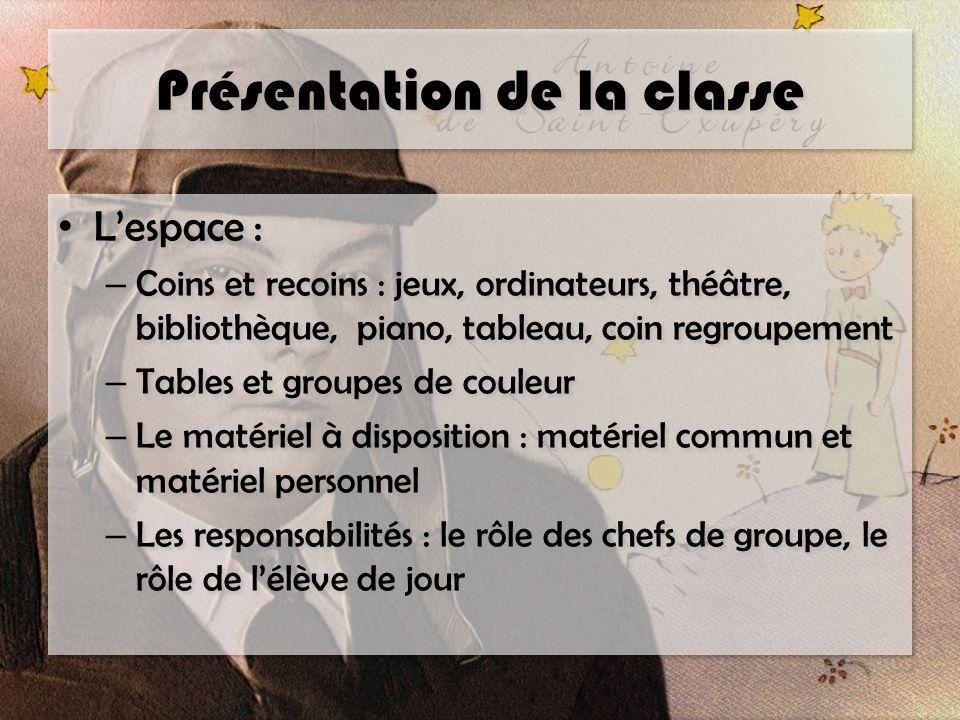 Présentation de la classe L'espace : – Coins et recoins : jeux, ordinateurs, théâtre, bibliothèque, piano, tableau, coin regroupement – Tables et grou