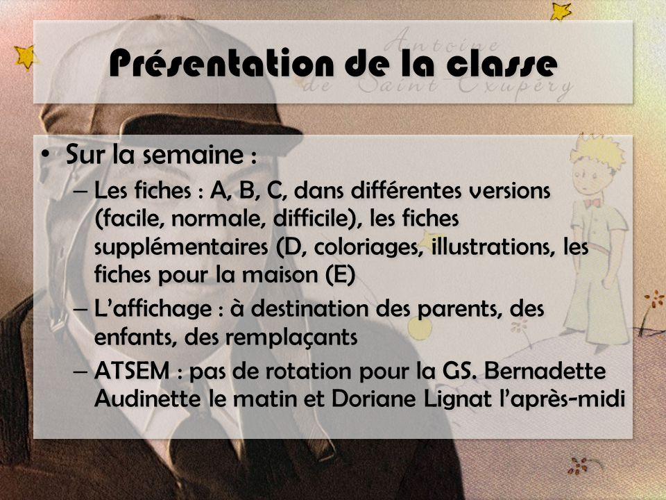 Présentation de la classe Sur la semaine : – Les fiches : A, B, C, dans différentes versions (facile, normale, difficile), les fiches supplémentaires