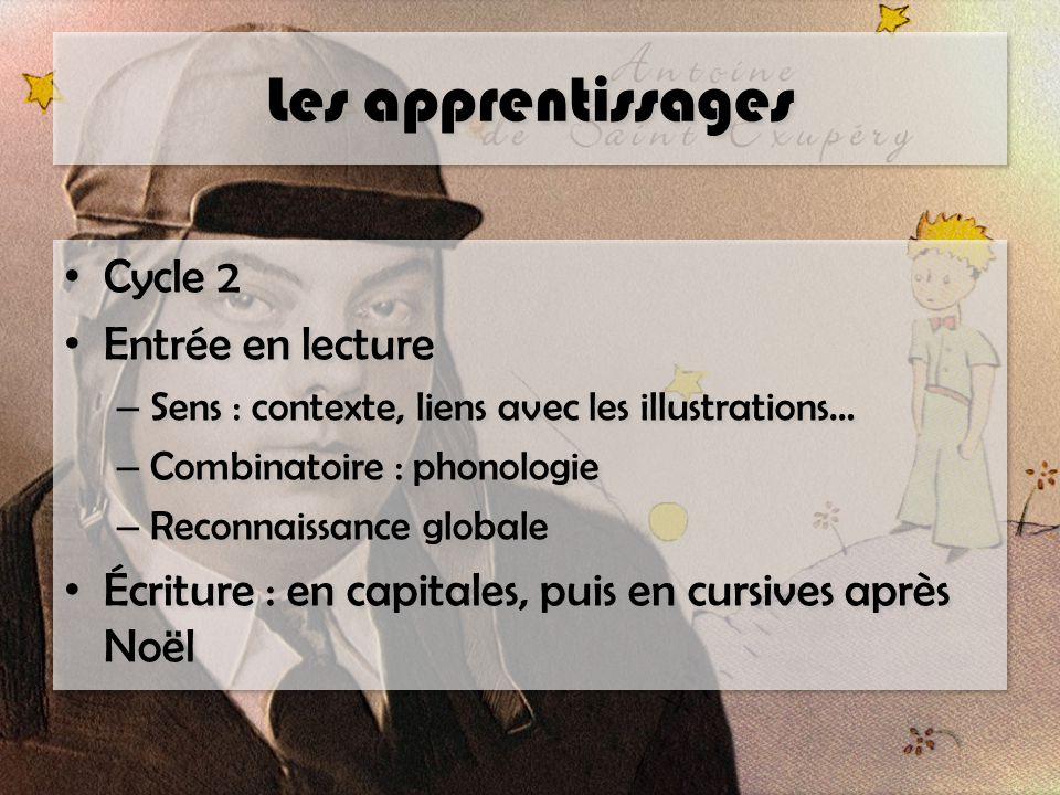 Les apprentissages Cycle 2 Entrée en lecture – Sens : contexte, liens avec les illustrations… – Combinatoire : phonologie – Reconnaissance globale Écr