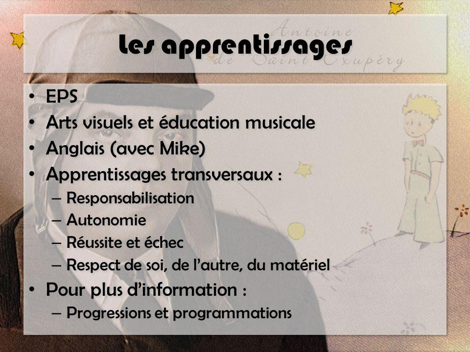 Les apprentissages EPS Arts visuels et éducation musicale Anglais (avec Mike) Apprentissages transversaux : – Responsabilisation – Autonomie – Réussit