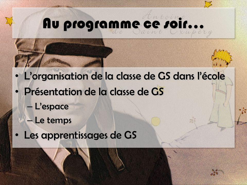 Au programme ce soir… L'organisation de la classe de GS dans l'école Présentation de la classe de GS – L'espace – Le temps Les apprentissages de GS L'organisation de la classe de GS dans l'école Présentation de la classe de GS – L'espace – Le temps Les apprentissages de GS