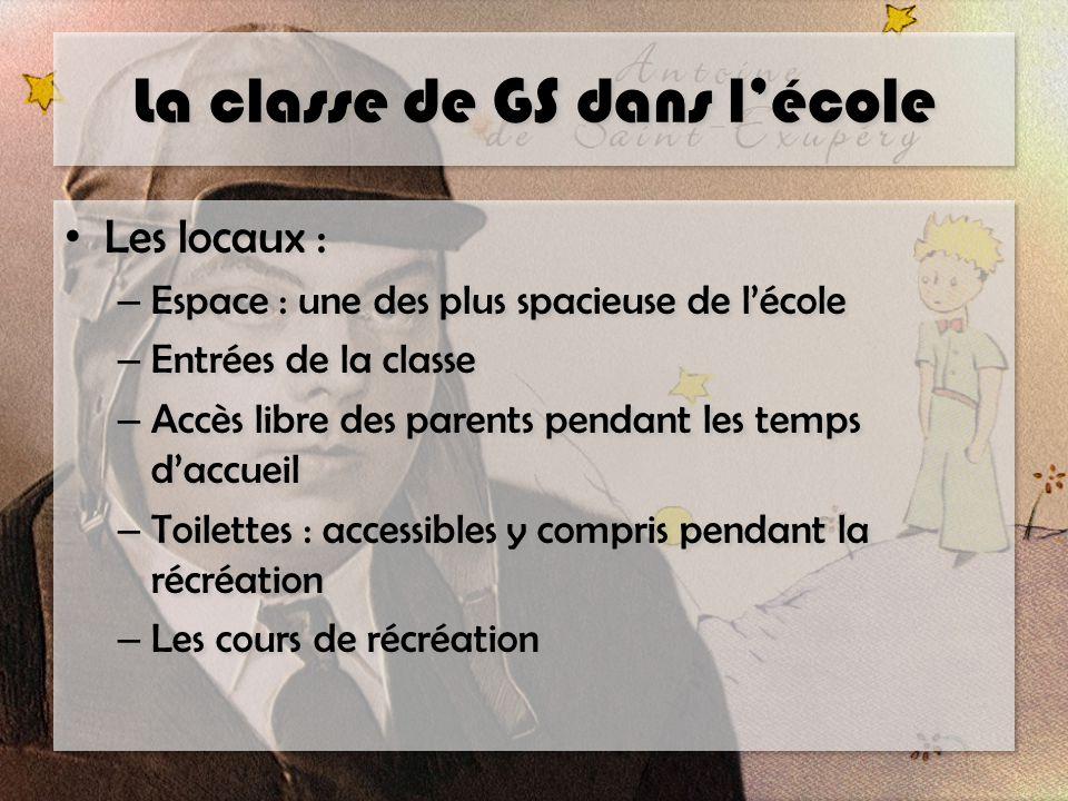 La classe de GS dans l'école Les locaux : – Espace : une des plus spacieuse de l'école – Entrées de la classe – Accès libre des parents pendant les te