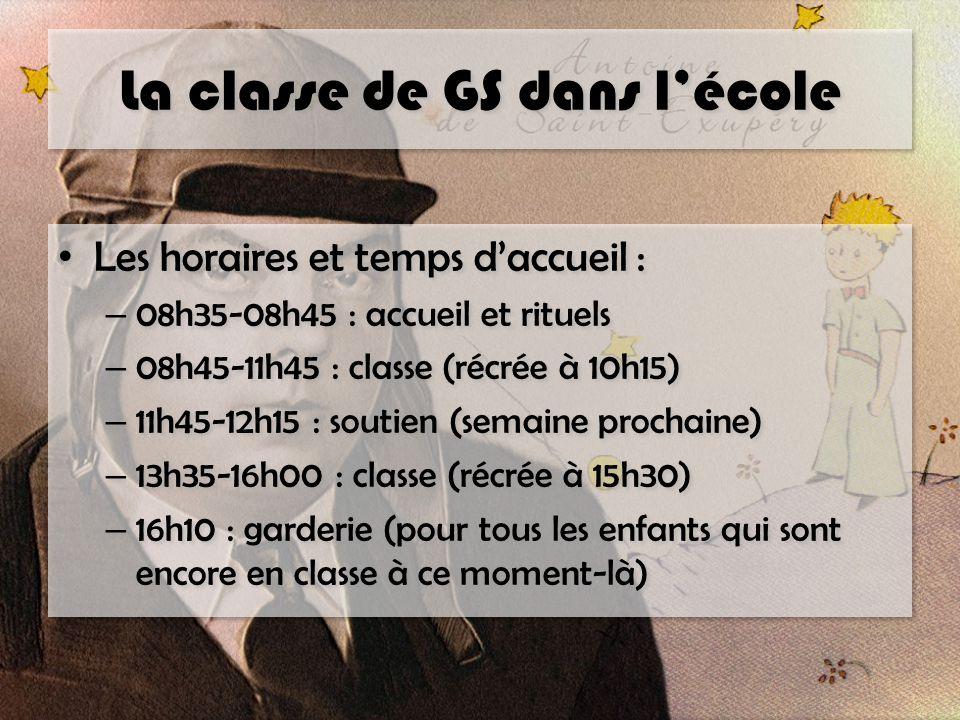 La classe de GS dans l'école Les horaires et temps d'accueil : – 08h35-08h45 : accueil et rituels – 08h45-11h45 : classe (récrée à 10h15) – 11h45-12h1