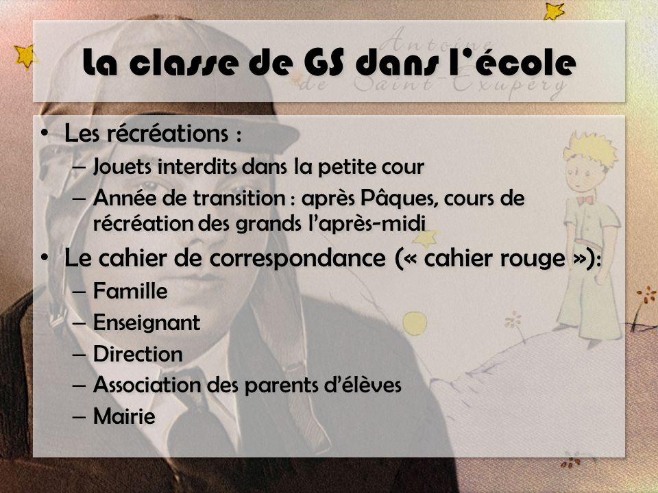 La classe de GS dans l'école Les récréations : – Jouets interdits dans la petite cour – Année de transition : après Pâques, cours de récréation des gr