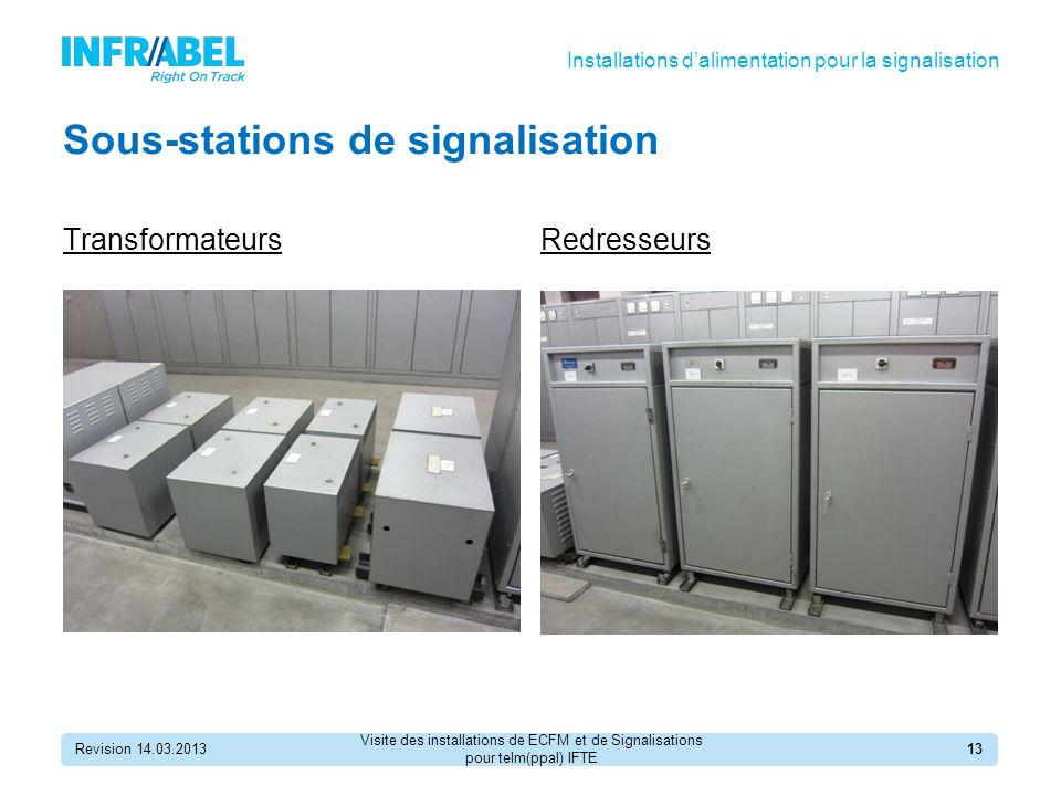 Sous-stations de signalisation Revision 14.03.201313 TransformateursRedresseurs Installations d'alimentation pour la signalisation Visite des installations de ECFM et de Signalisations pour telm(ppal) IFTE