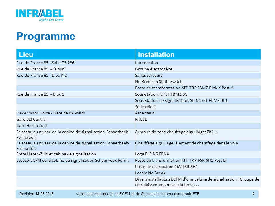 "Programme LieuInstallation Rue de France 85 - Salle C3.286Introduction Rue de France 85 - ""Cour"