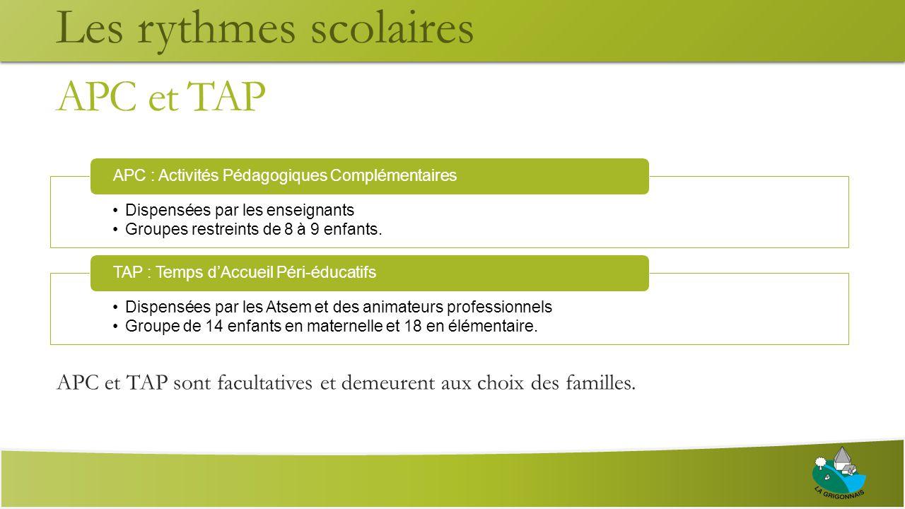 APC et TAP APC et TAP sont facultatives et demeurent aux choix des familles.