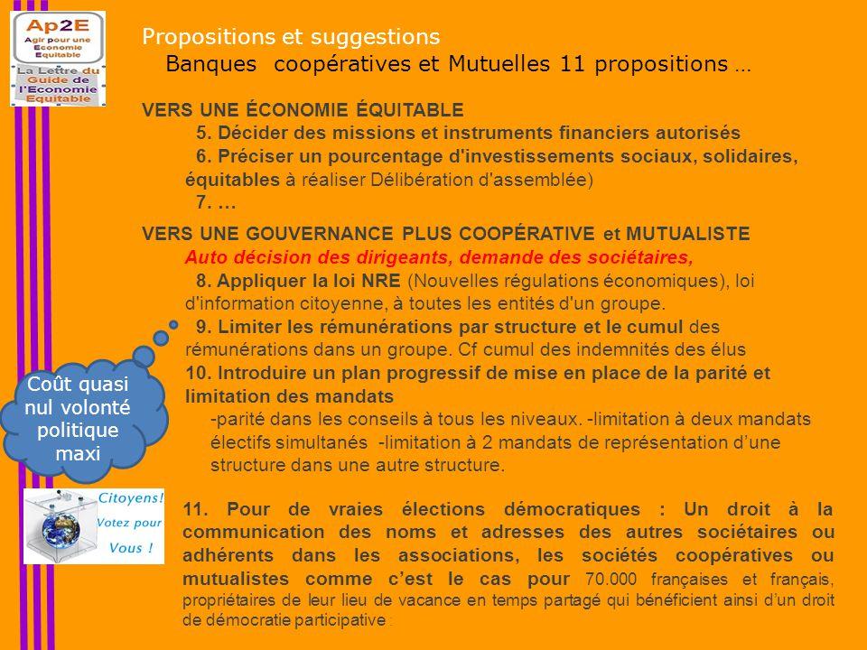 Propositions et suggestions Banques coopératives et Mutuelles 11 propositions … VERS UNE ÉCONOMIE ÉQUITABLE 5.