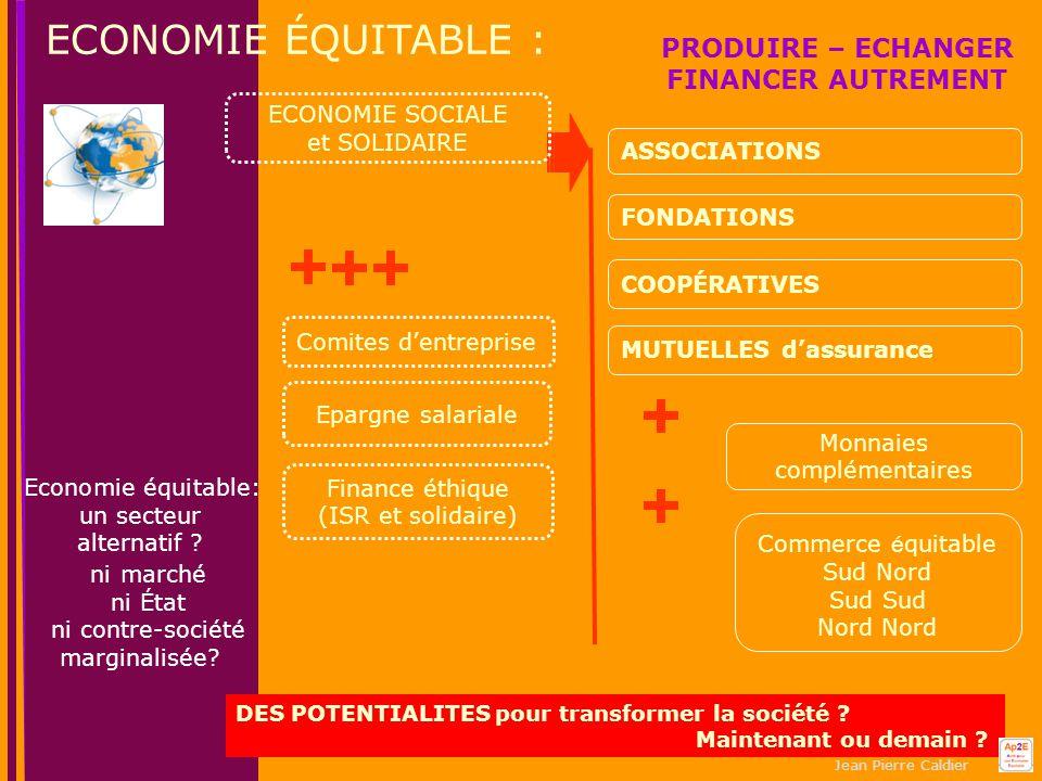Jean Pierre Caldier ECONOMIE ÉQUITABLE : ASSOCIATIONS COOPÉRATIVES MUTUELLES d'assurance Economie équitable: un secteur alternatif .
