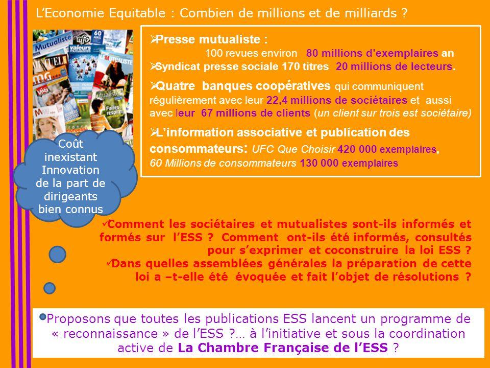 L'Economie Equitable : Combien de millions et de milliards .