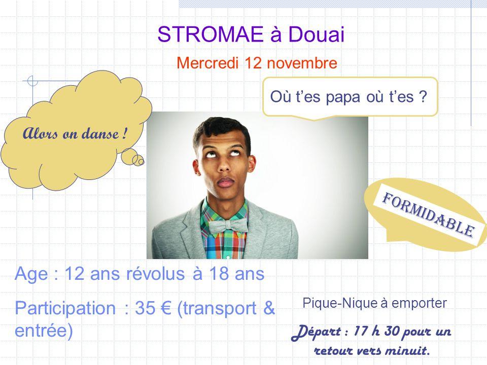 STROMAE à Douai Mercredi 12 novembre Age : 12 ans révolus à 18 ans Participation : 35 € (transport & entrée) Pique-Nique à emporter Où t'es papa où t'