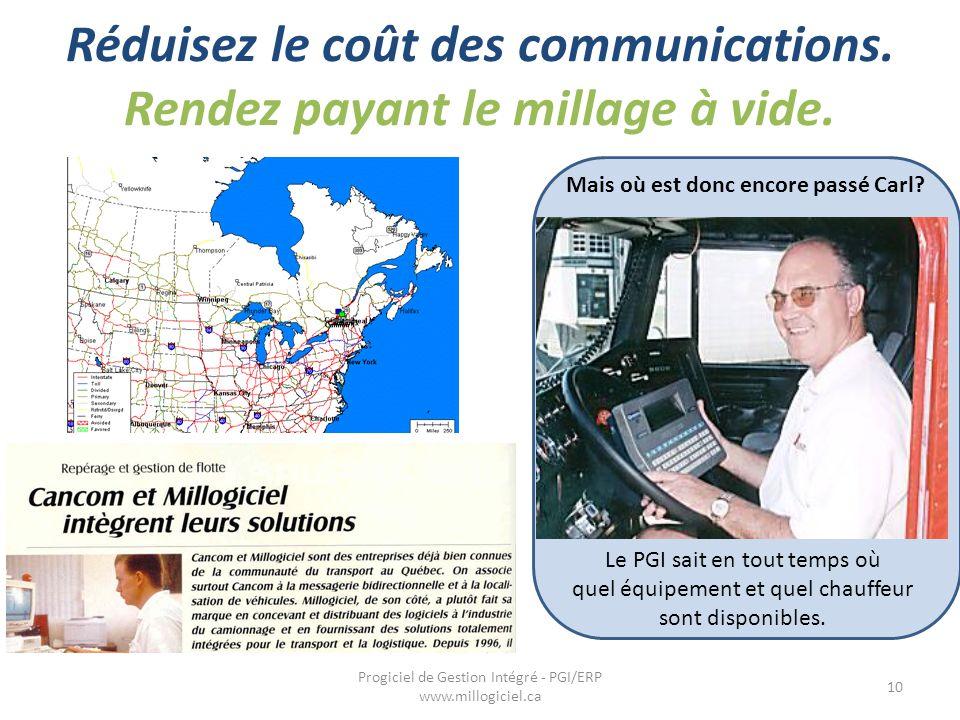 Réduisez le coût des communications. Rendez payant le millage à vide. 10 Progiciel de Gestion Intégré - PGI/ERP www.millogiciel.ca Mais où est donc en