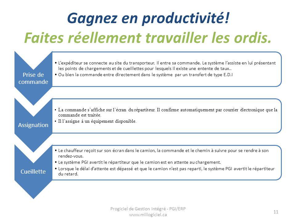Gagnez en productivité! Faites réellement travailler les ordis. 11 Progiciel de Gestion Intégré - PGI/ERP www.millogiciel.ca Prise de commande L'expéd