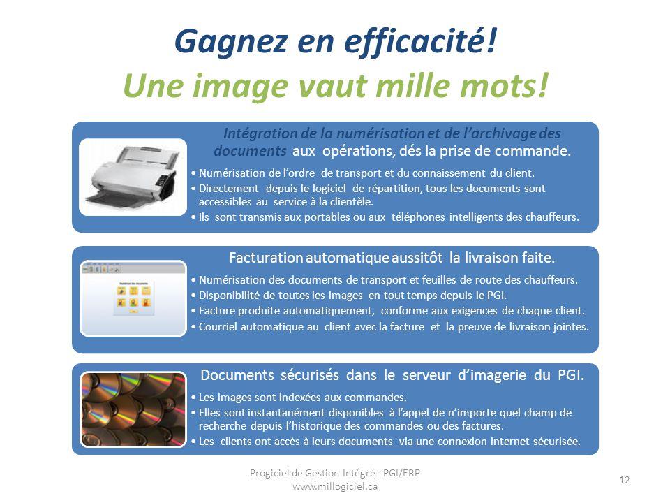 Gagnez en efficacité! Une image vaut mille mots! 12 Progiciel de Gestion Intégré - PGI/ERP www.millogiciel.ca Intégration de la numérisation et de l'a