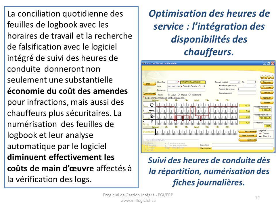 Optimisation des heures de service : l'intégration des disponibilités des chauffeurs. Progiciel de Gestion Intégré - PGI/ERP www.millogiciel.ca 14 La