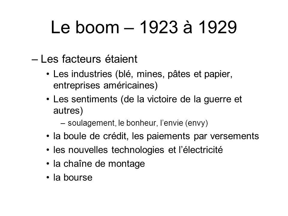 Le boom – 1923 à 1929 –Les facteurs étaient Les industries (blé, mines, pâtes et papier, entreprises américaines) Les sentiments (de la victoire de la