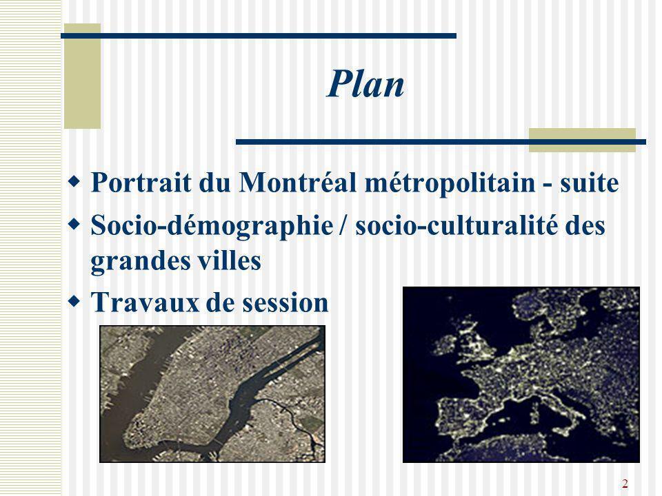 2 Plan  Portrait du Montréal métropolitain - suite  Socio-démographie / socio-culturalité des grandes villes  Travaux de session