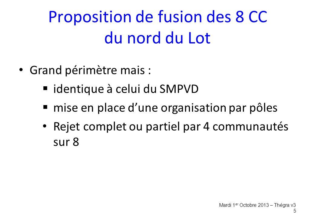 Proposition de fusion des 8 CC du nord du Lot Grand périmètre mais :  identique à celui du SMPVD  mise en place d'une organisation par pôles Rejet complet ou partiel par 4 communautés sur 8 Mardi 1 er Octobre 2013 – Thégra v3 5