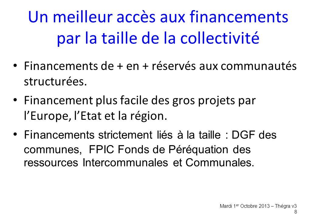 Financements de + en + réservés aux communautés structurées.