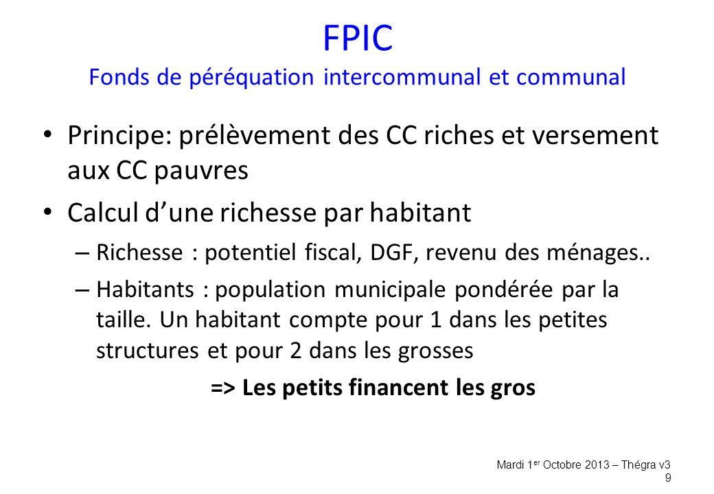 FPIC Fonds de péréquation intercommunal et communal Principe: prélèvement des CC riches et versement aux CC pauvres Calcul d'une richesse par habitant – Richesse : potentiel fiscal, DGF, revenu des ménages..