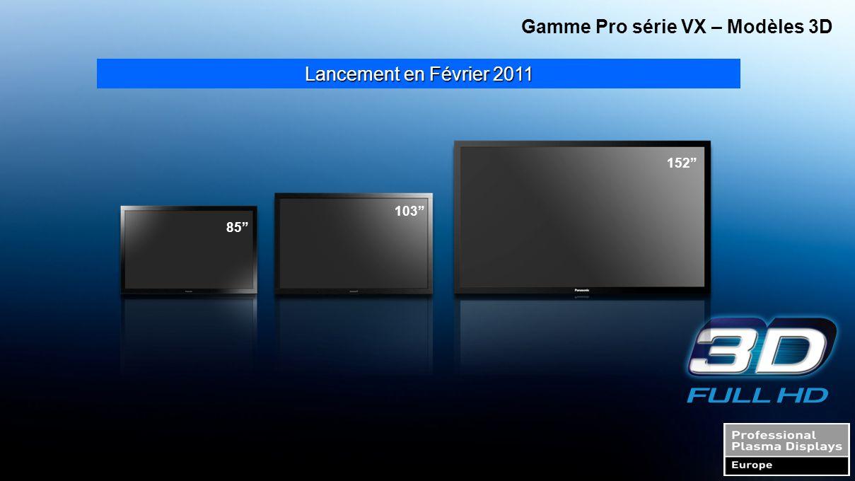 """Lancement en Février 2011 Gamme Pro série VX – Modèles 3D 85"""" 103"""" 152"""""""