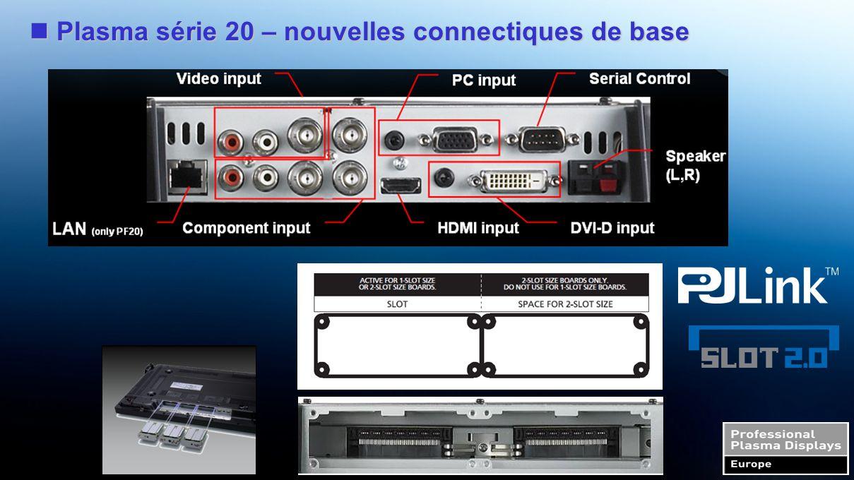 Gamme Pro série 20 - Flexibilité HDMI (slot 1 or 2) TY-FB8HM BNC Composite Video (slot 1 or 2) TY-42TM6B BNC Dual Video (slot 1 or 2) TY-FB9BD BNC Component Video (any slot) TY-42TM6A BNC Composite Video (slot 1 or 2) TY-42TM6V RGB (Digital) (DVI-D) (slot 1 or 2) TY-42TM6D Ir Through (any slot) TY-FB9RT RGB Active Through (slot 1 & 2 ) TY-42TM6G Composite/Component Video (slot 1 & 2, or slits 2 & 3 ) TY-42TM6Y SDI (slot 1 or 2) TY-FB7SD HD-SDI (slot 1 or 2) TY-FB10HD SCART (slot 1 or 2) TY-FB8SC RGB (Digital) (DVI-D) (slot 1 or 2) TY-FB9FDD Twisted-pair-cable Receiver (any slot) KE0101CR-BW PDP Controller (slot 1,2,3) VC251 series HD-SDI (slot 1 or 2) TY-FB10HD(w/Audio) PDP Controller (slot 1+2 or 2+3) ETX-1312C Wireless Presentation (slot 1+2 or 2+3) TY-FB10WPE Dual HDMI (slot 1 or 2) TY-FB10HMD AV Terminal Box ( --- ) TY-TB10AV RCA Component Video (any slot) TY-42TM6Z PC Input (any slot) TY-42TM6P Media Player