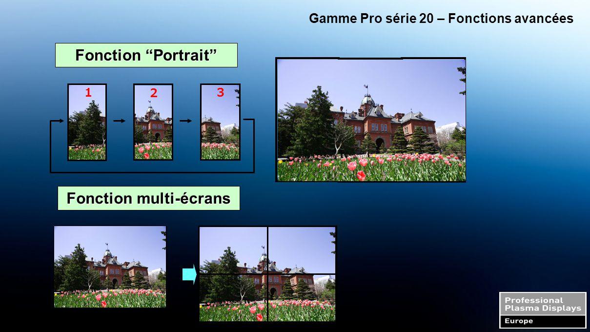 """Gamme Pro série 20 – Fonctions avancées Fonction """"Portrait"""" 123 1 2 3 Fonction multi-écrans"""