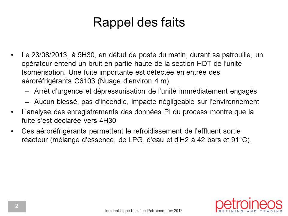 Incident Ligne benzène Petroineos fev 2012 2 Rappel des faits Le 23/08/2013, à 5H30, en début de poste du matin, durant sa patrouille, un opérateur entend un bruit en partie haute de la section HDT de l'unité Isomérisation.