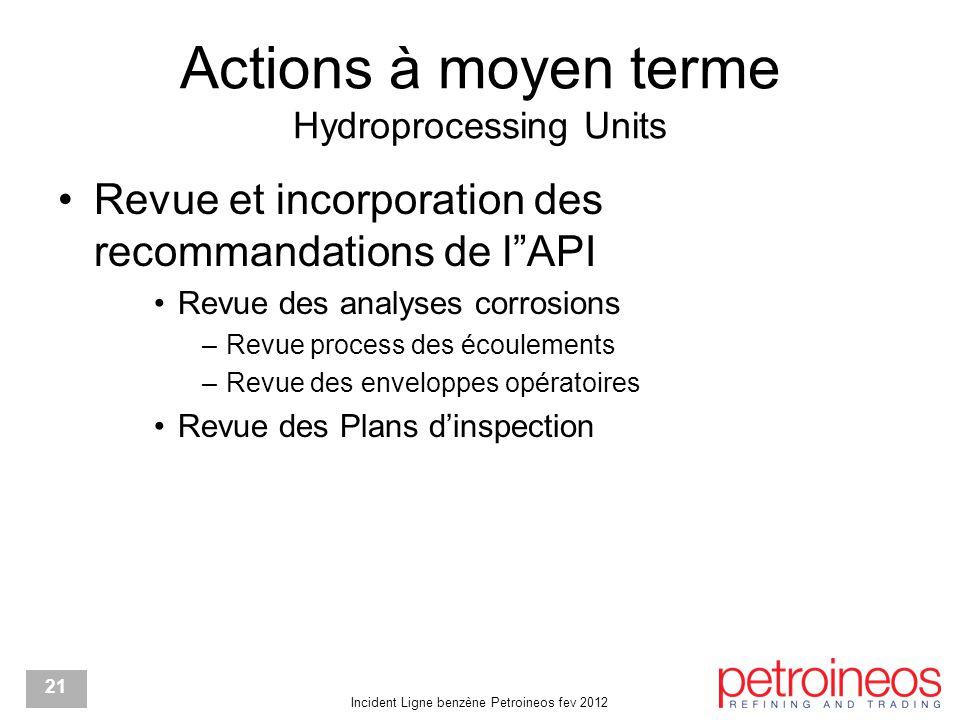 """Incident Ligne benzène Petroineos fev 2012 21 Actions à moyen terme Hydroprocessing Units Revue et incorporation des recommandations de l""""API Revue de"""
