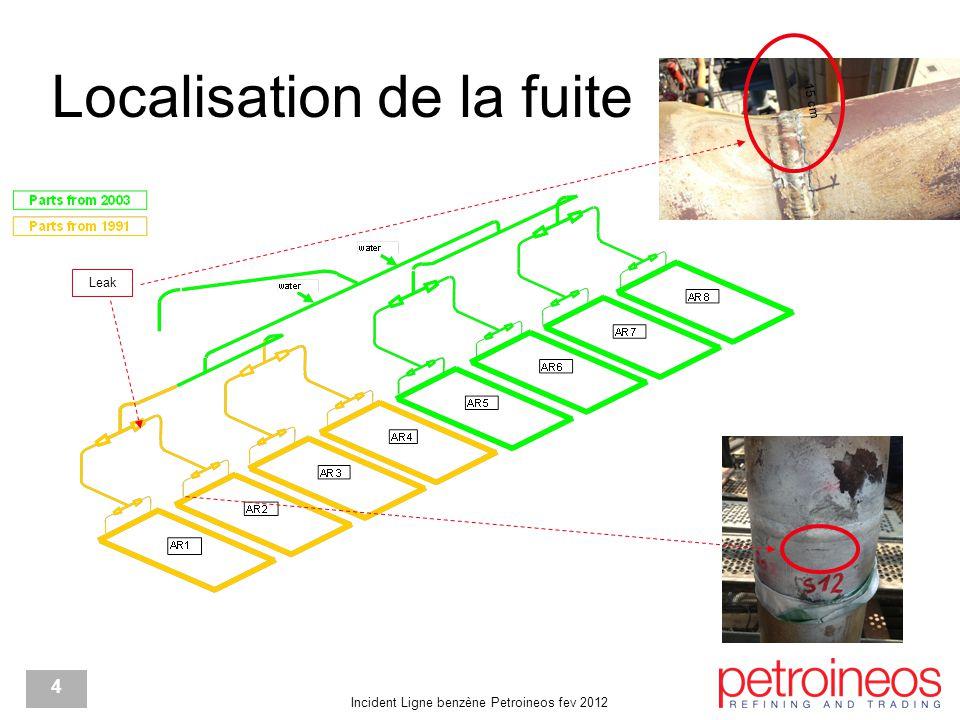 Incident Ligne benzène Petroineos fev 2012 4 Localisation de la fuite Leak 15 cm