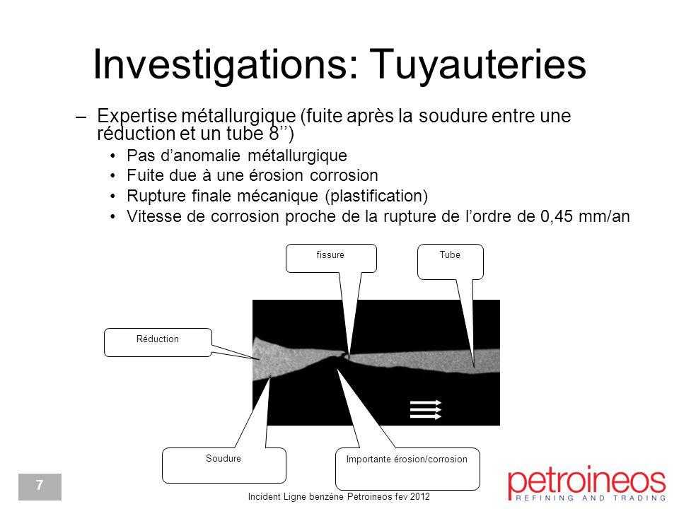 Incident Ligne benzène Petroineos fev 2012 7 Investigations: Tuyauteries –Expertise métallurgique (fuite après la soudure entre une réduction et un tube 8'') Pas d'anomalie métallurgique Fuite due à une érosion corrosion Rupture finale mécanique (plastification) Vitesse de corrosion proche de la rupture de l'ordre de 0,45 mm/an fissure Tube Importante érosion/corrosion Réduction Soudure