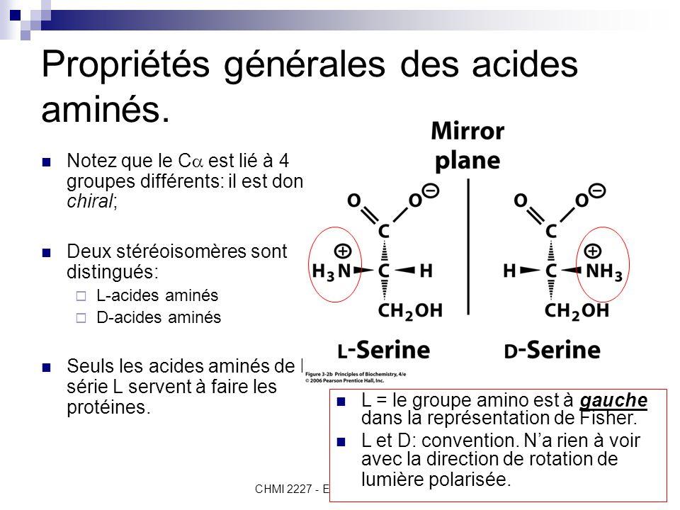 CHMI 2227 - E.R. Gauthier, Ph.D.4 Propriétés générales des acides aminés. Notez que le C  est lié à 4 groupes différents: il est donc chiral; Deux st