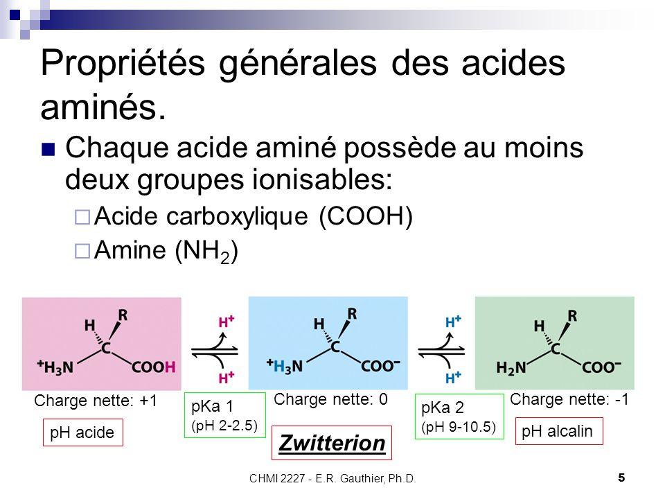 CHMI 2227 - E.R. Gauthier, Ph.D.5 Propriétés générales des acides aminés. Chaque acide aminé possède au moins deux groupes ionisables:  Acide carboxy