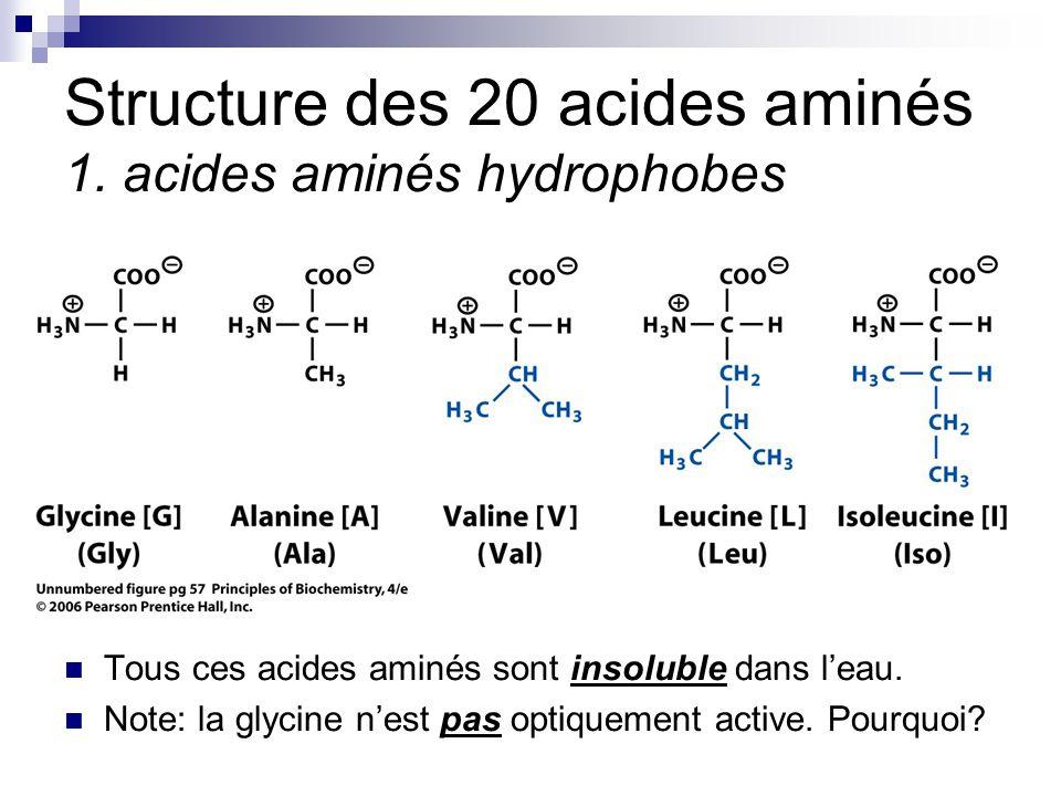 CHMI 2227 - E.R. Gauthier, Ph.D.8 Structure des 20 acides aminés 1. acides aminés hydrophobes Tous ces acides aminés sont insoluble dans l'eau. Note: