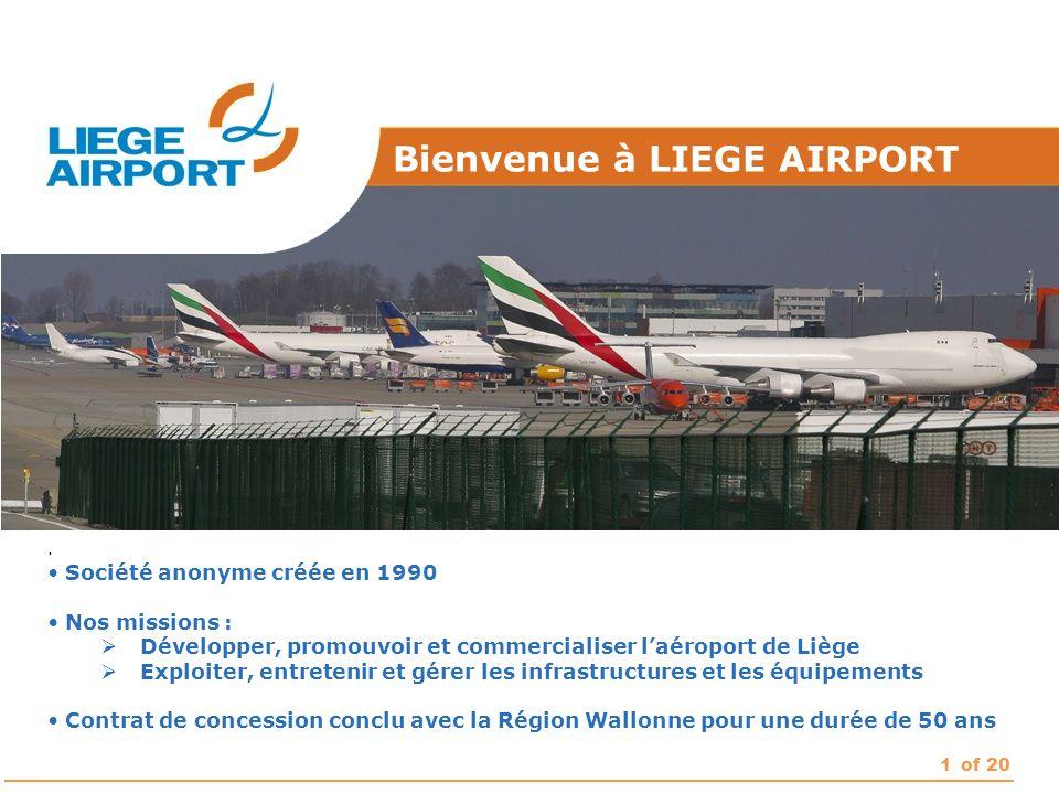 1of 20. Société anonyme créée en 1990 Nos missions :  Développer, promouvoir et commercialiser l'aéroport de Liège  Exploiter, entretenir et gérer l