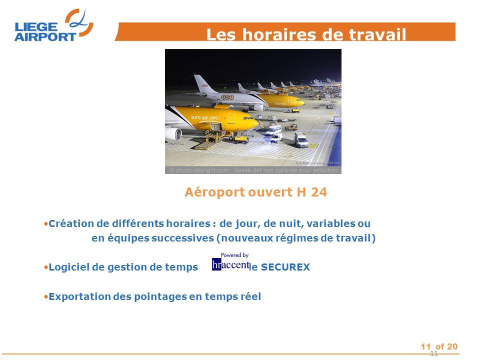 11of 20 Les horaires de travail 11 Aéroport ouvert H 24 Création de différents horaires : de jour, de nuit, variables ou en équipes successives (nouve