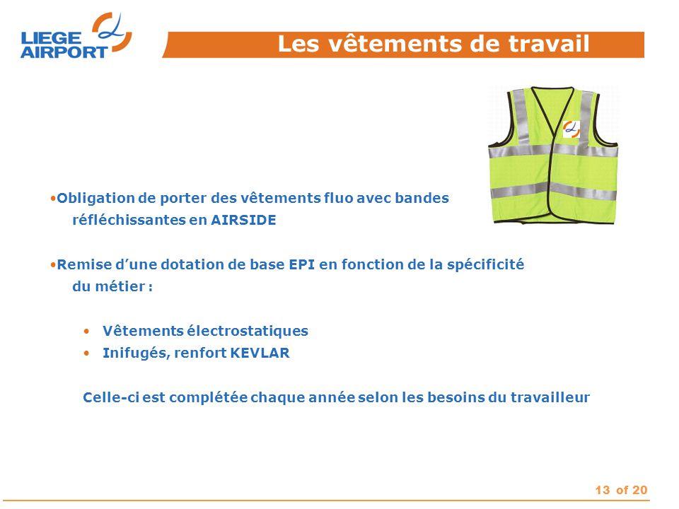 13of 20 Obligation de porter des vêtements fluo avec bandes réfléchissantes en AIRSIDE Remise d'une dotation de base EPI en fonction de la spécificité