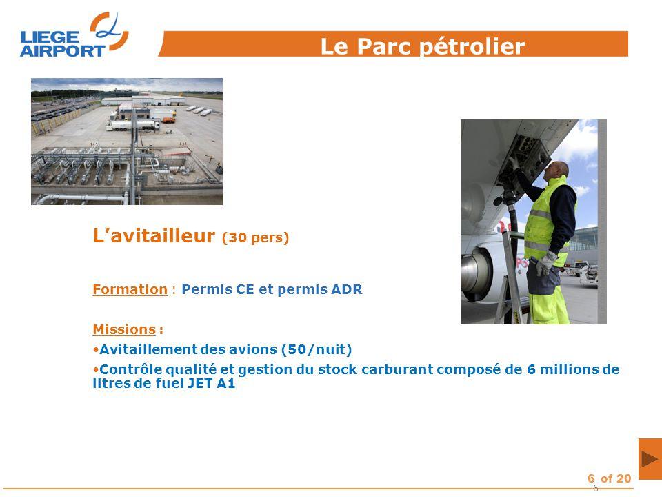 6of 20 6 L'avitailleur (30 pers) Formation : Permis CE et permis ADR Missions : Avitaillement des avions (50/nuit) Contrôle qualité et gestion du stoc