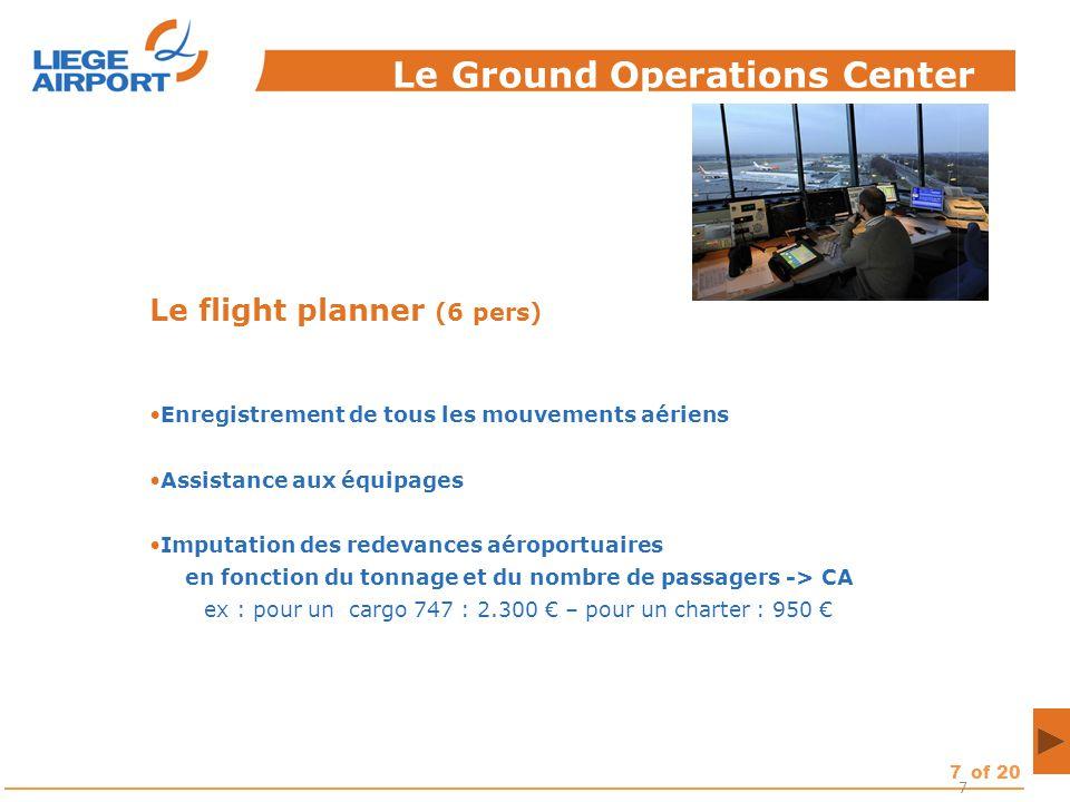 7of 20 7 Le flight planner (6 pers) Enregistrement de tous les mouvements aériens Assistance aux équipages Imputation des redevances aéroportuaires en