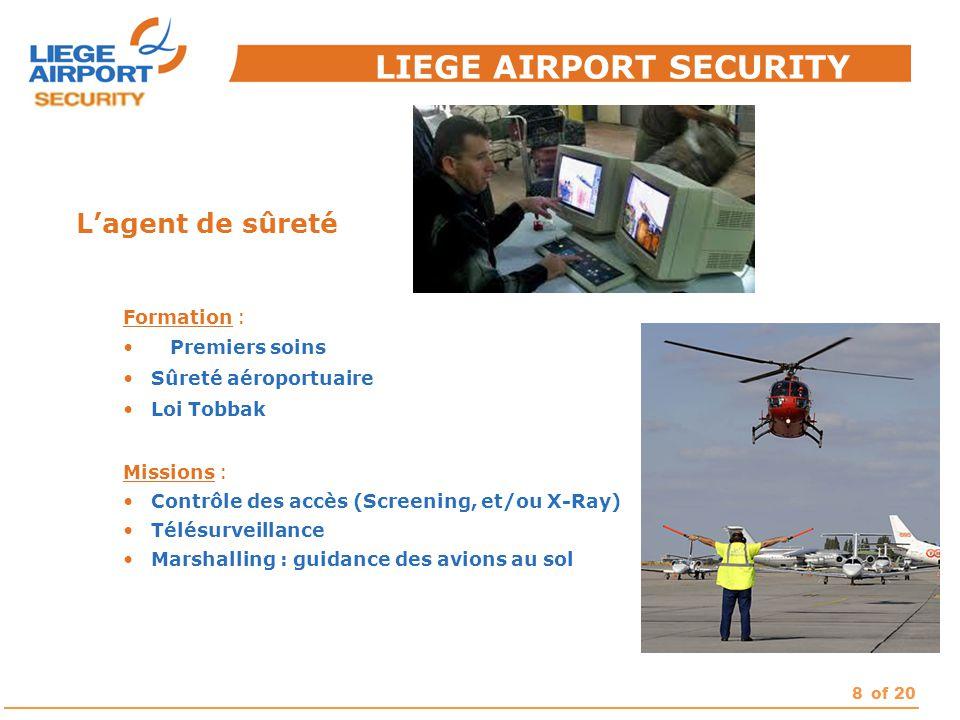 8of 20 L'agent de sûreté Formation : Premiers soins Sûreté aéroportuaire Loi Tobbak Missions : Contrôle des accès (Screening, et/ou X-Ray) Télésurveil