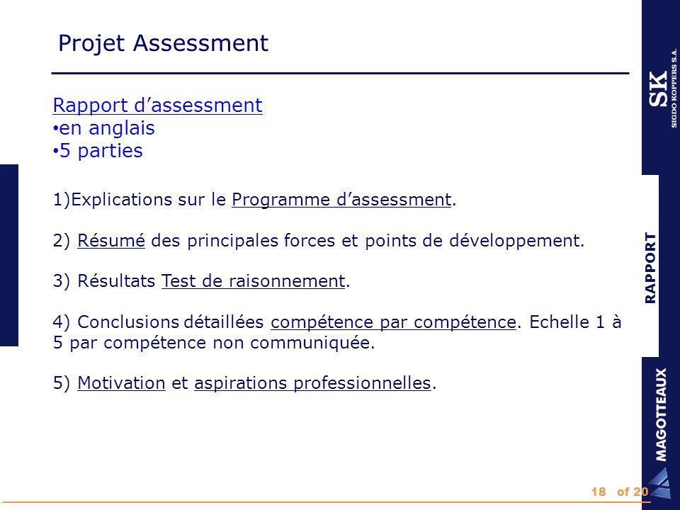 RAPPORT Rapport d'assessment en anglais 5 parties 1)Explications sur le Programme d'assessment.