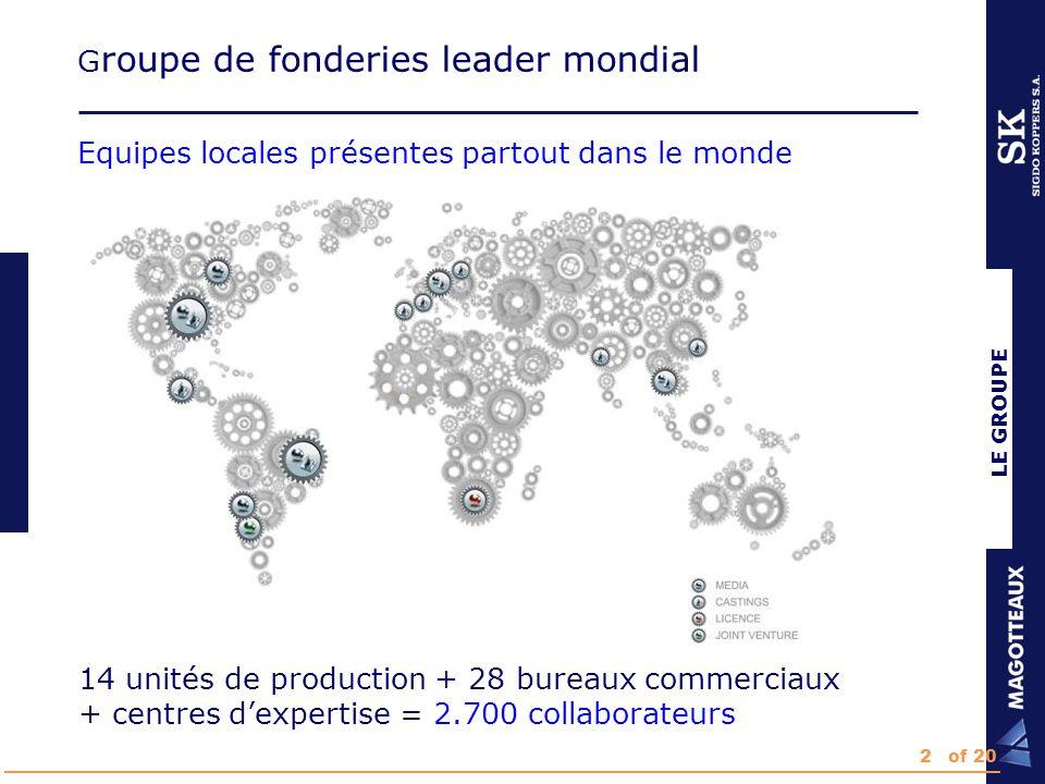 LE GROUPE G roupe de fonderies leader mondial Equipes locales présentes partout dans le monde 14 unités de production + 28 bureaux commerciaux + centres d'expertise = 2.700 collaborateurs 2of 20