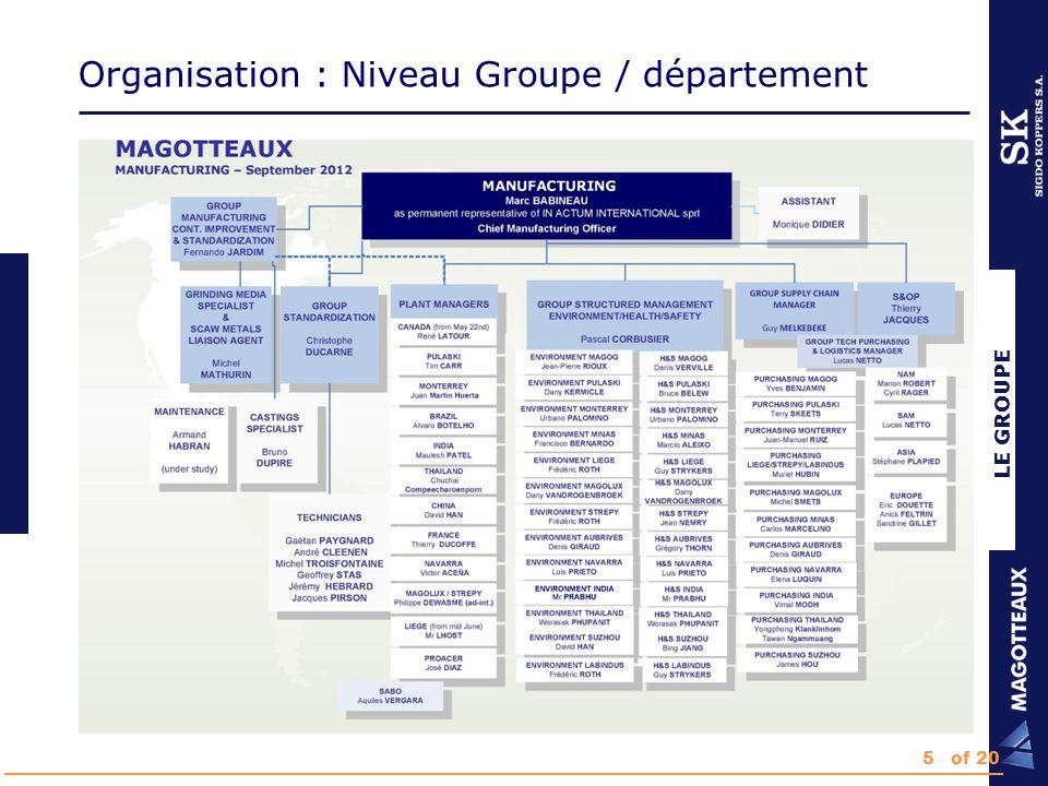 LE GROUPE Organisation : Niveau Groupe / département 5of 20