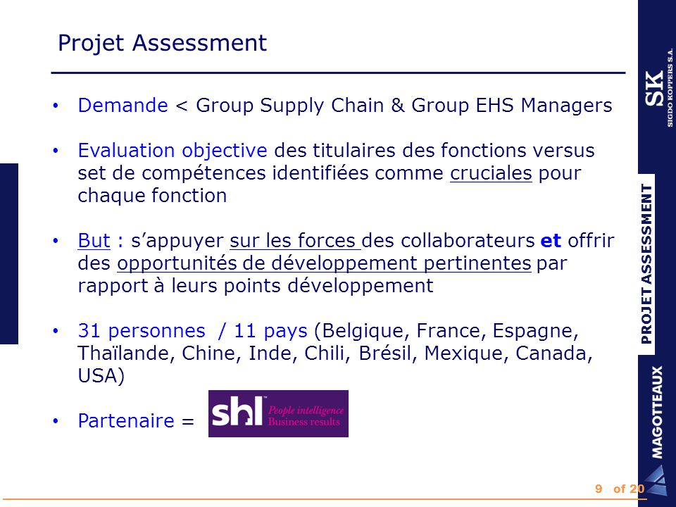 Equipe projet RH - Group Talent Manager (G) - Group HR Manager (G) - HR Manager (L) Manufacturing - Group Supply Chain Manager ( G) - Group EHS Manager (G) - Chief Manufacturing Officer (G) - Plant Manager (L) SHL - Coordinateur SHL (G) - Consultant local (L) Projet Assessment PROJET ASSESSMENT 10of 20